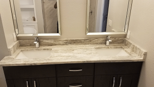 Image of Dual Vanity Sinks from a Citrus Park Bathroom Remodeling Job