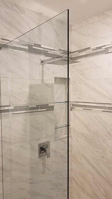 Image of a Glass Shower Door from a Koster Konstruction Bathroom Remodeling Job in Citrus Park FL