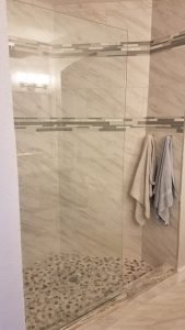 Image of a Custom Shower Bathroom Remodel in Citrus Park FL