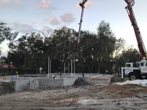 Image of a Home Foundation Slab Being Poured in Pasco County