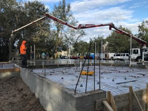 Image of a Home Foundation Slab Being Poured in Pasco