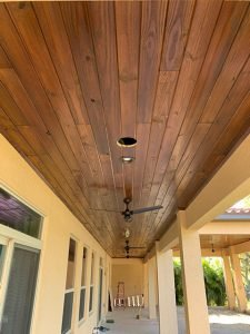 Vertical Image of Stained Outside Porch Ceiling in Lutz FL
